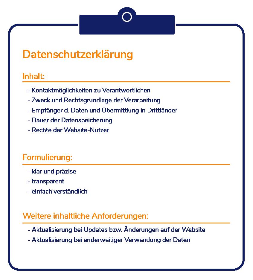 Inhalte einer Datenschutzerklärung